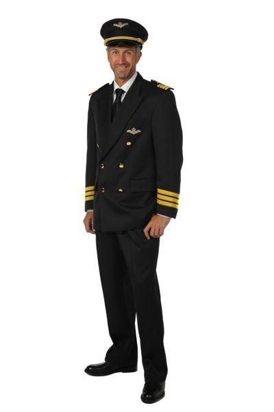 Piloten uniform 3 delig en voorzien van hoed