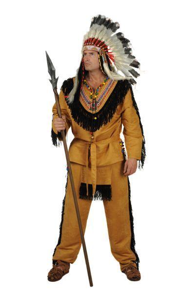 verkleedkleding van opperhoofd indianen compleet met verentooi
