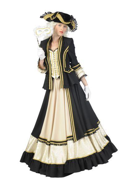 historische jurk met meerdere lagen zwart wit met nauw bovenlichaam