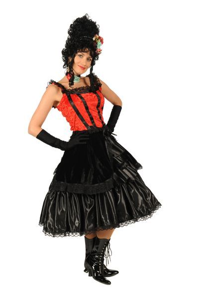 Dames cowboy-outfit zwarte jurk met rood korset