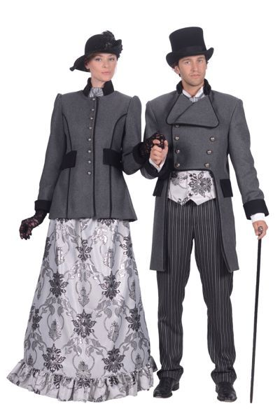 Dickenskleding grijs voor man en vrouw