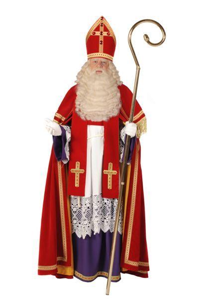 sinterklaaskostuum, rode jas, meiter, staf, onder jurk en schitterende juwelen