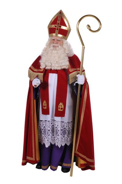 sinterklaaspak, rode jas, meiter, staf, onder jurk en schitterende juwelen