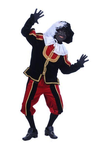 zwarte pietenpak fluweel kleur rood, zwart en goud