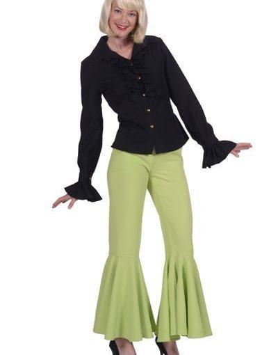 jaren 70 kleding broek mint groen met wijde pijpen