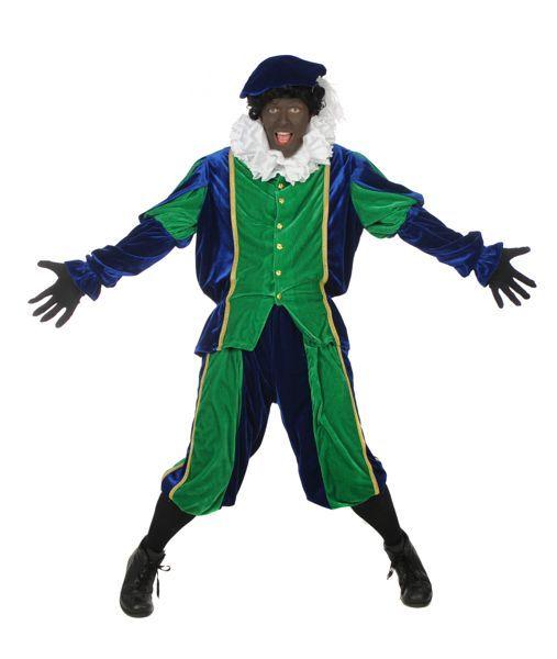 zwarte pieten-outfit fluweel kleur groen en blauw