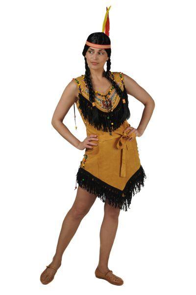 indianenjurkje licht bruin en veer met band voor in het haar
