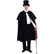 Dickenspak zwart met hoed en stok