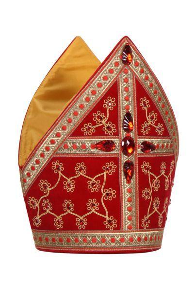 rode meiter van sinterklaas met gouden versiersels en roden diamanten