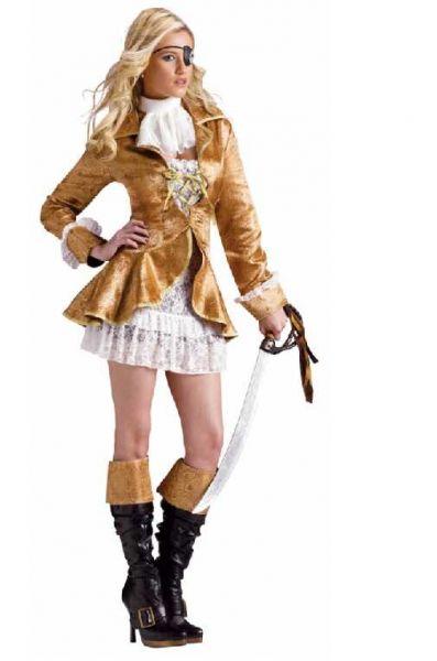 piratenoutfit voor een vrouw goudkleurig met rok, blouse en ooglap