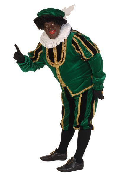 zwarte pieten-verkleedkleding fluweel kleur groen, zwart en goud