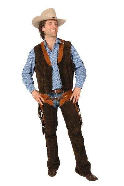 cowboyverkleedpak broek, shirt, vest en hoed