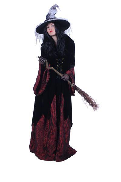 heksenpakken, lange zwarte jurk met bijpassende hoed