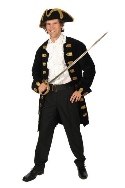 VOC-outfit voor mannen, zwart pak met blouse en hoed