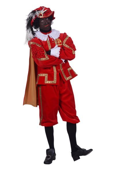 zwarte pieten-kostuum fluweel kleur rood en goud