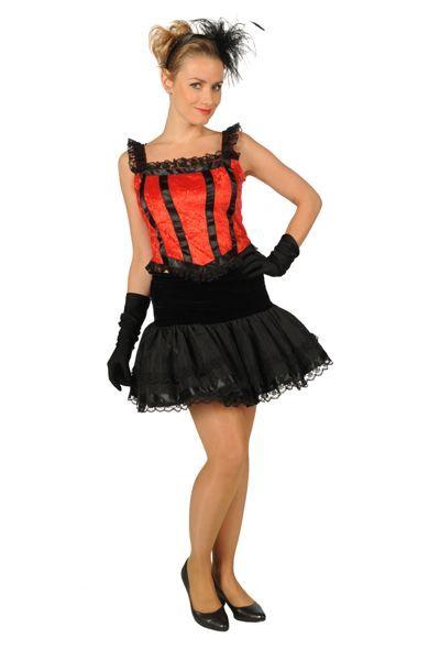 Charleston-kleding zwart jurkje met rood topje