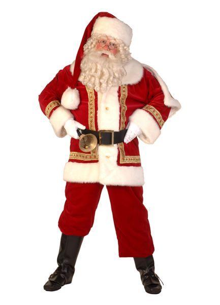 kerstman-outfit rode jas, rode jas, rode muts, bel en dikke buik