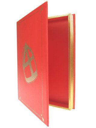 het boek van sinterklaas, rood met gouden bladzijden