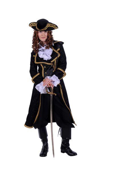 piratenkostuum voor vrouwen zwart compleet met hoed