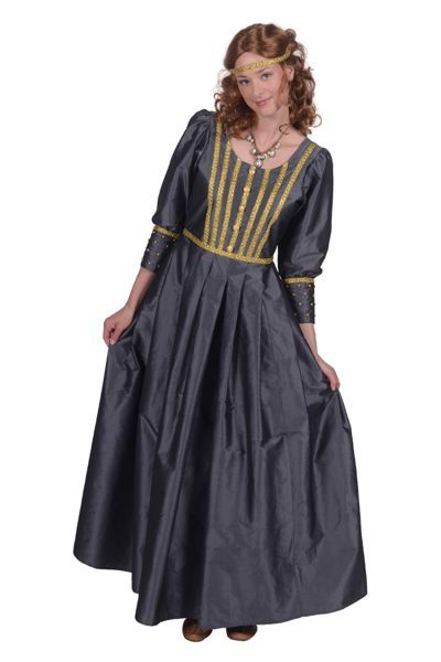 middeleeuwse jurk blauw met mooie details
