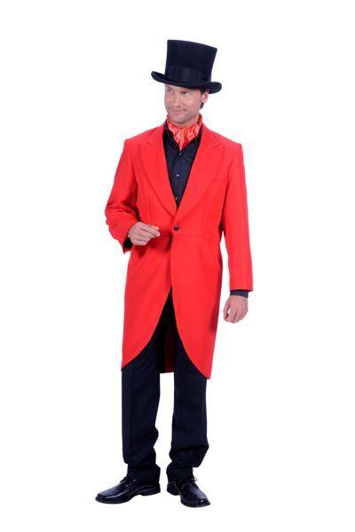 Charlestonpak met zwarte broek en rode jas plus hoed