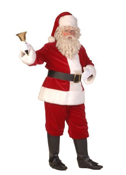 kerstman-kostuum rode jas, rode jas, rode muts, bel en dikke buik