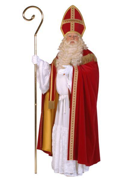 sinterklaasoutfit, rode jas, meiter, staf, onder jurk en schitterende juwelen