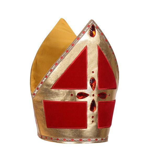 meiter van sinterklaas met gouden versiersels en roden diamanten