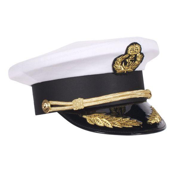 Witte kapteinspet met gouden versiersels, kapteinsuniform