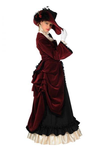 Dames dickenskostuum lange jurk met hoed