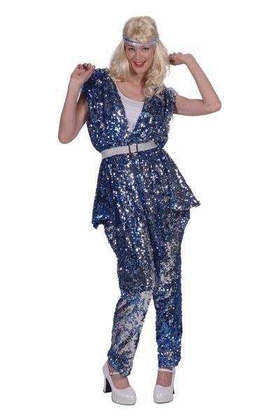 jaren 70 outfit dames blauw catsuit